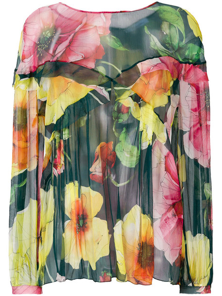 blouse women floral print silk green top
