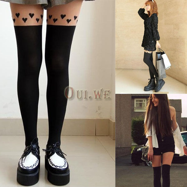Lady Heat Patchwork Tattoo Soft Stockings Socks Leggings Pantyhose Thigh-Highs