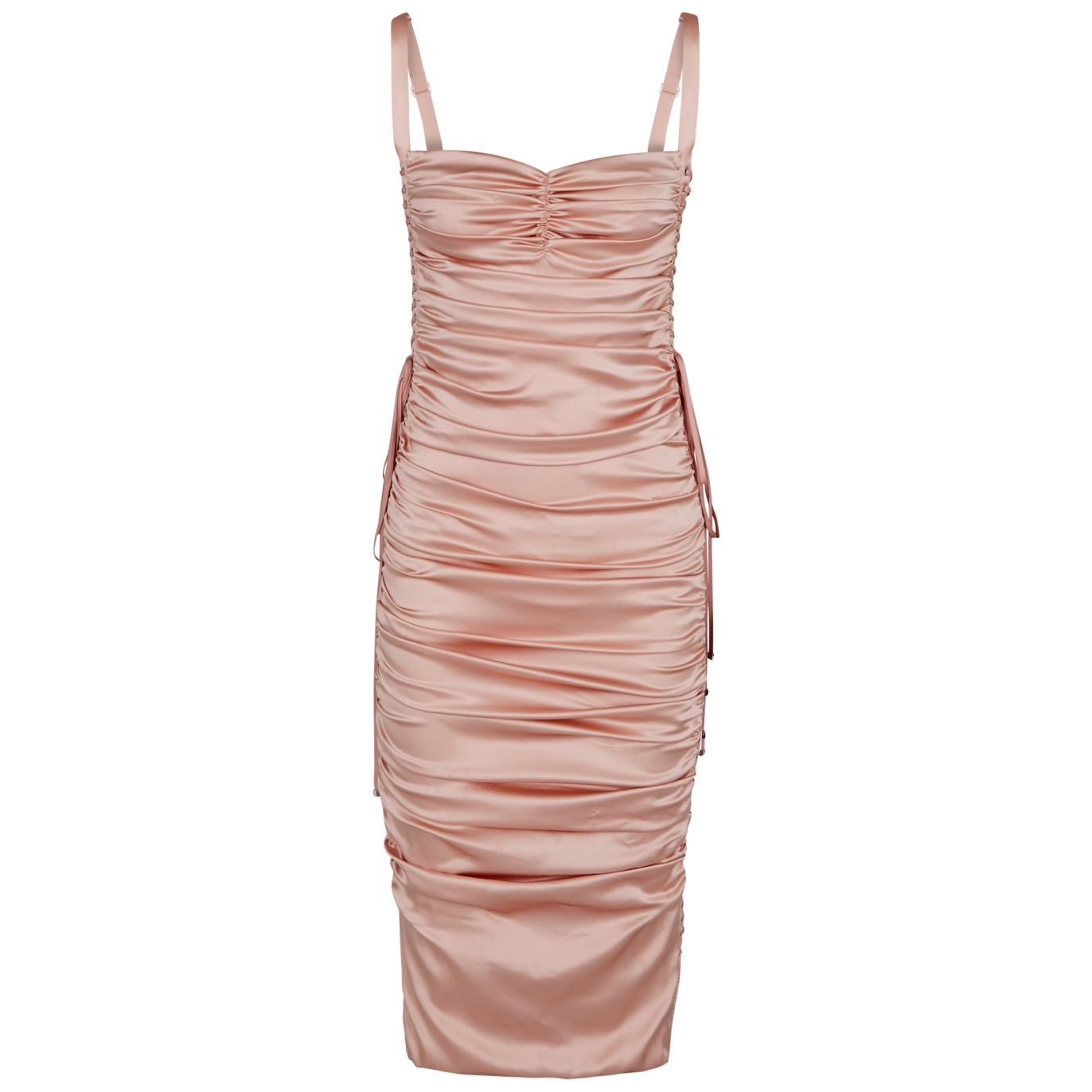 Pink ruched silk satin midi dress