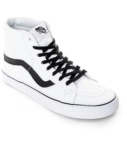 Vans Sk8-Hi Reissue True White & Black Skate Shoes (Mens)