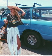top,hawaiian,wildfox,creative tops,hippie,boho,bohemian,surf vibes,car,rainbown,surf,rainbow shirt,pants,skirt,hat,weekend escape