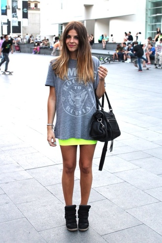 shirt yellow fluo neon yellow yellow skirt t-shirt shoes bag