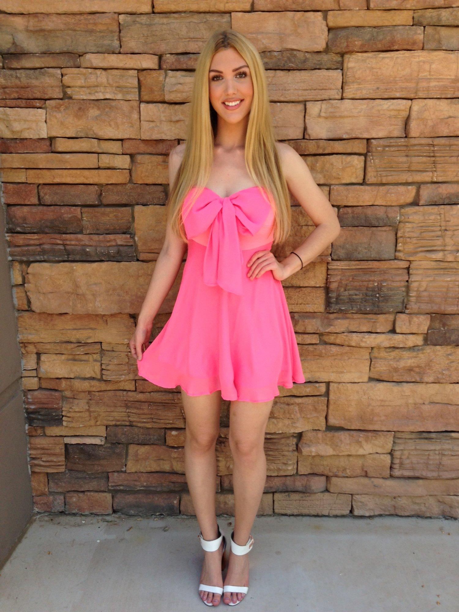 Pink Day Dress - Pink Bow Sweetheart Neckline Dress | UsTrendy