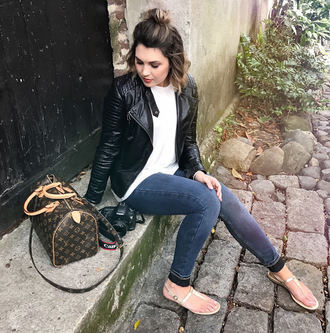 life & messy hair blogger jeans shoes tank top jacket bag louis vuitton bag black leather jacket skinny jeans flat sandals spring outfits