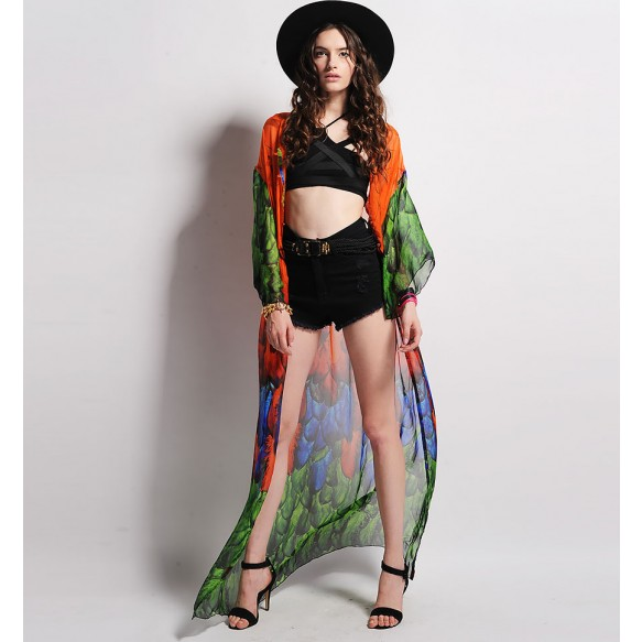 Sheer Beach Cardigan In Feather Print at Style Moi