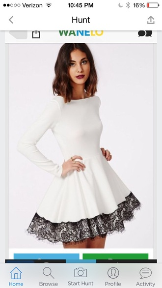 dress white dress lace long sleeves white girly feminine style skater dress streetwear zaful cute winter formal dress black and white dress white with black lace n very soft