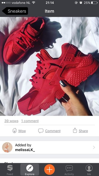 shoes red nike color red lovely twitter huarache cute nike running shoes nike sneakers colorful instagram nike air huaraches bright sneakers major must haves