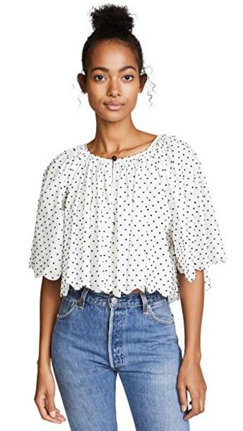 marysia swim blouse white black top