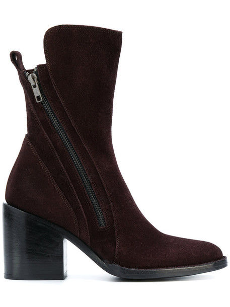 ANN DEMEULEMEESTER women boots leather suede brown shoes