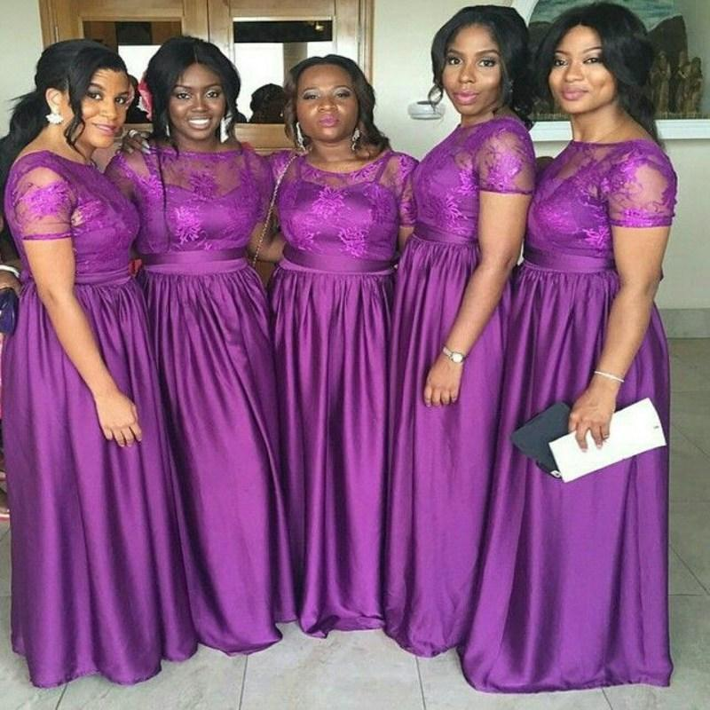 Purple Lilac African Bridesmaids Dresses Long Floor Length 2016 Plus ...