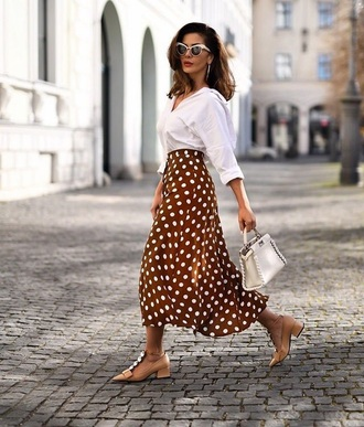 skirt midi skirt sunglasses white sunglasses shirt white shirt shoes nude shoes polka dots spring outfits