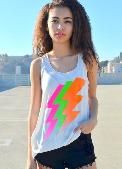 white tank tank top green white white tank top neon lightning bolt pink orange neon tank top neon tank