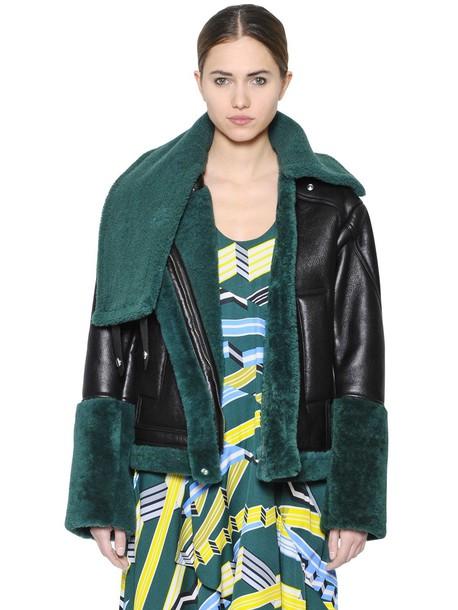 Kenzo jacket leather jacket leather green