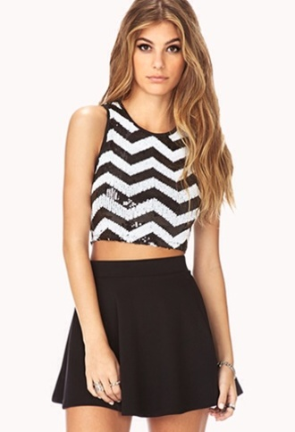 skirt forever 21 crop tops black skirt cute outfits tank top
