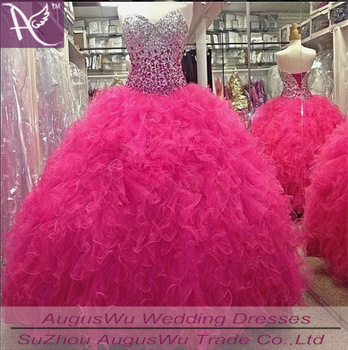 0a8f5231b 2015 Quinceanera Dresses Gowns Hot Pink Crystal Ball Gown Vestidos De 15  Anos Ruffle Lace Up ...