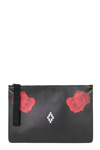 rose clutch print black bag