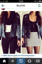 jacket,black and blue jacket,blue,black,short,pants,skirt
