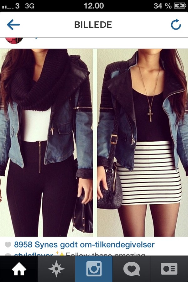 jacket black and blue jacket blue black short pants skirt