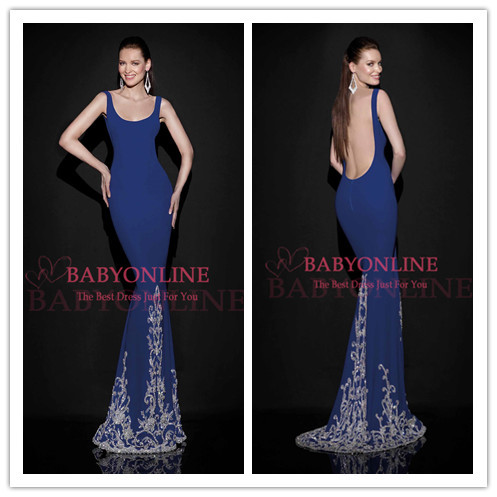 Aliexpress.com : Buy Wholesale Elegant Scoop Neck Long Trumpet Navy Evening Dresses 2014 Backless Sweep Train Crystals Beaded from Reliable crystal choker suppliers on Suzhou Babyonlinedress Co.,Ltd