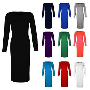 WOMENS LADIES LONG SLEEVE PLAIN JERSEY STRETCH BODYCON MIDI MAXI LENGTH DRESS | eBay