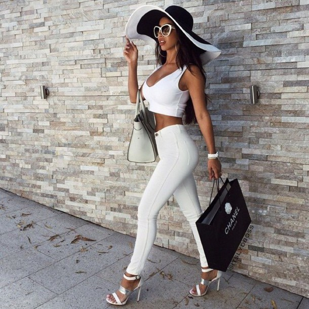 pants jeans crop tops bag hat glasses shoes style sunglasses heel sandals