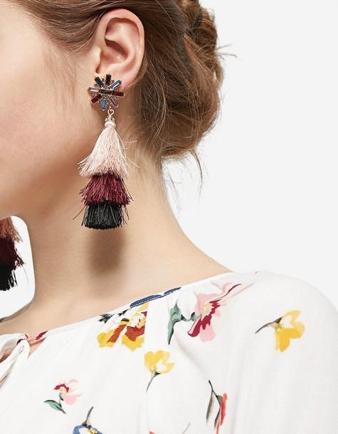 rose tassel earrings jewels
