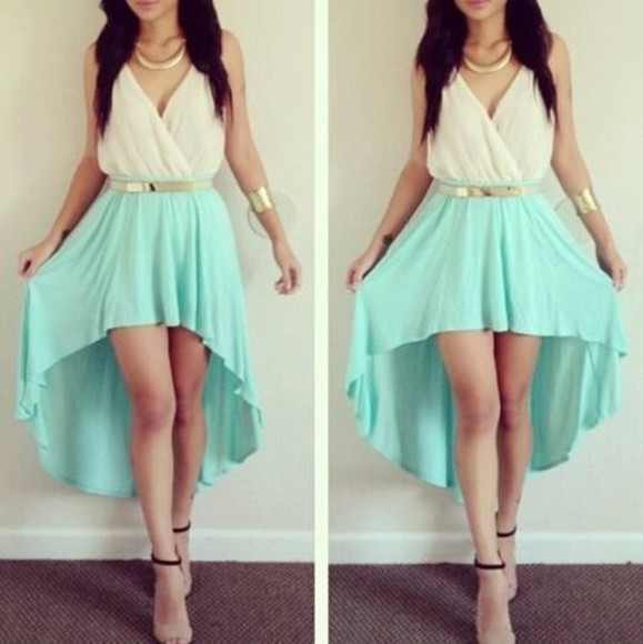 cute dress highlow dress prom dress aqua dress white dress gold belt black heels high-low dresses white blue fashion stylish gold girls