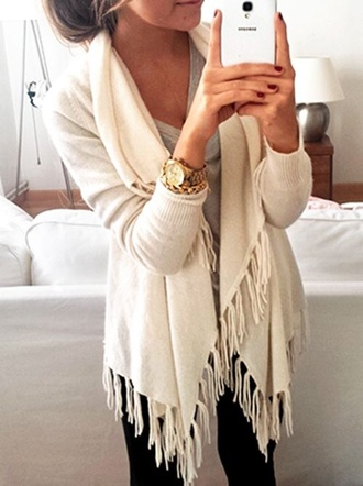 cardigan cream sweater phone case jewels long sleeves fringes cream long comfy fall outfits jacket white sweater ruffle girly fall outfits cream cardigans knitted cardigan beige cosy sweet syle cute fringes watch
