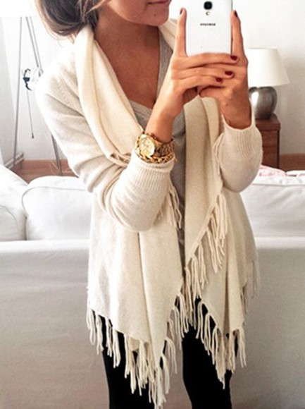 fringe long sleeves cardigan cream sweater