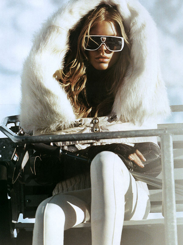 White Shades Fluffy Coat Ski Ho
