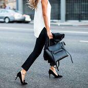 bag,tumblr,pants,black pants,black bag,celine,celine bag,pumps,pointed toe pumps,bow shoes,high heel pumps,top,white top,handbag