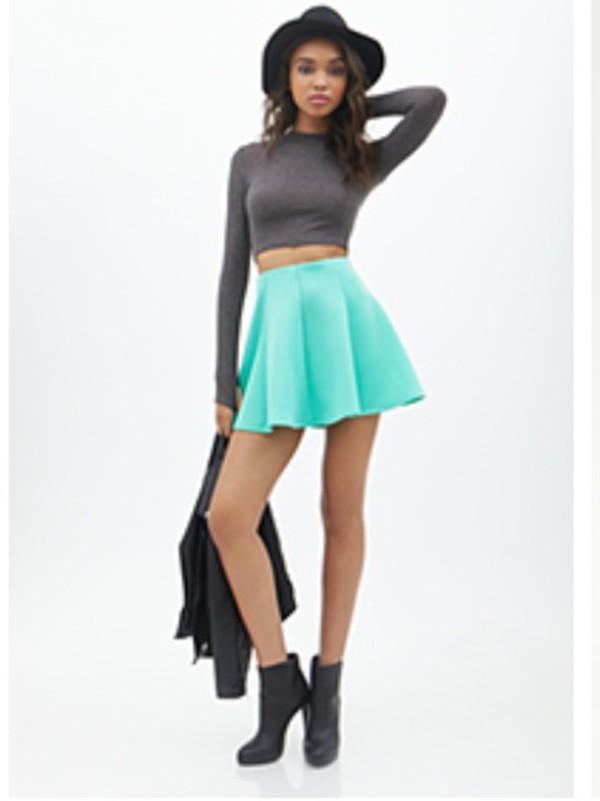 turquoise skater skirt