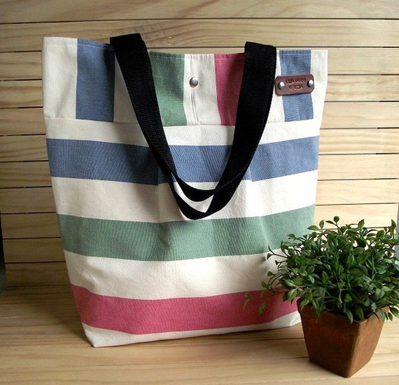 bag tote beach tote bag shoulder bag striped beach bag striped diaper bag canvas tote striped handbag
