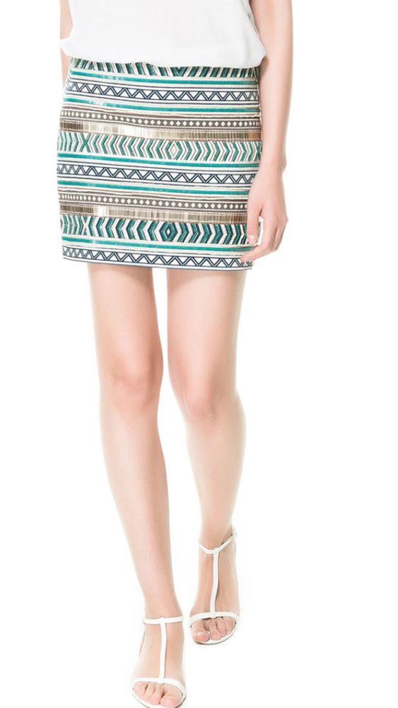 Zara Cream Gold Sequinned Embroidered Skirt Aztec Beaded Large Medium M L | eBay