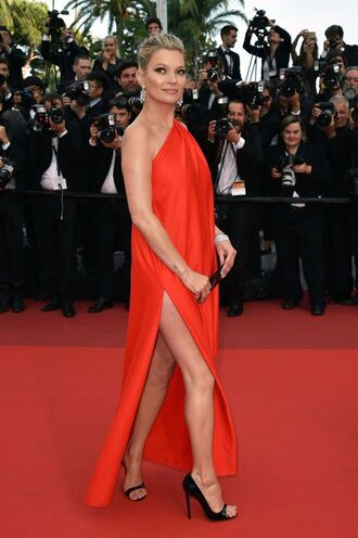 dress red dress red red carpet dress cannes sandals kate moss