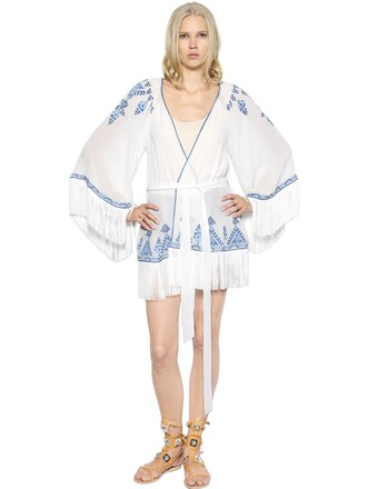 jacket kimono jacket chiffon embroidered silk white blue