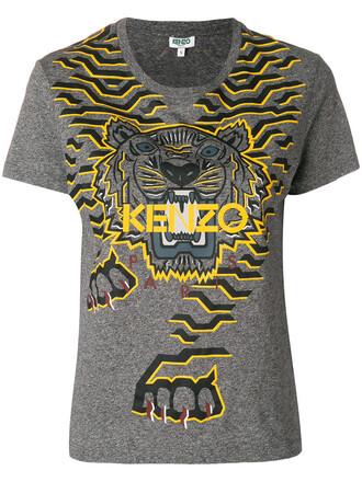 t-shirt shirt women tiger cotton grey top