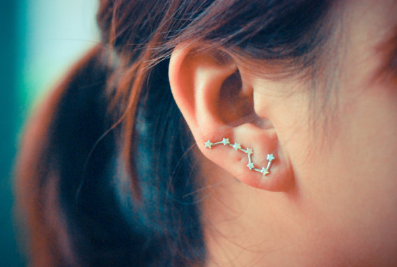 Big Dipper sterling silver ear pins by arajera on Etsy