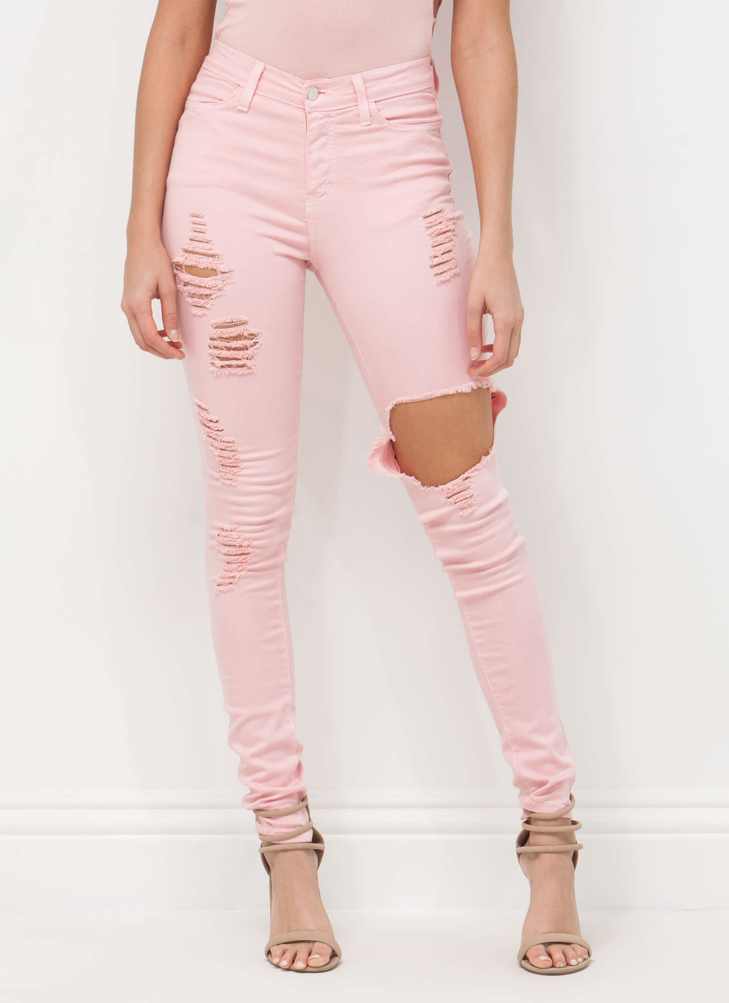 To Shreds Distressed Skinny Jeans PINK MINT BABYBLUE KHAKI LILAC ...