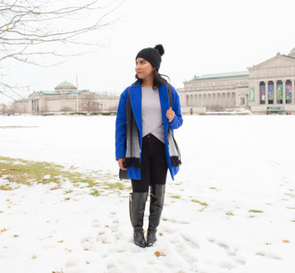 the-colorpalette blogger shoes shirt coat jeans bag beanie blue coat knee high boots boots winter outfits