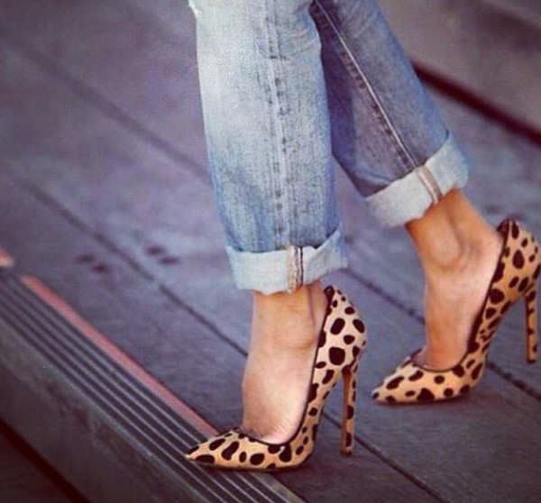 shoes leopard print heels