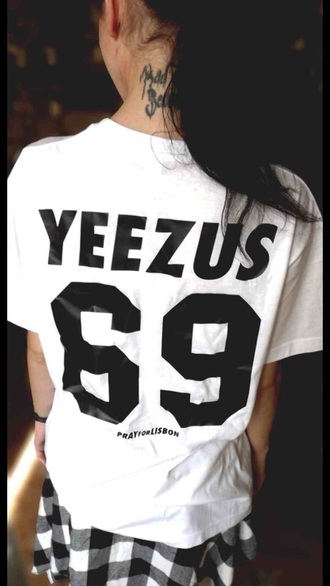 shirt t-shirt tshirt dress black t-shirt white t-shirt top kanye west kim kardashian west yeezus 69 crop top