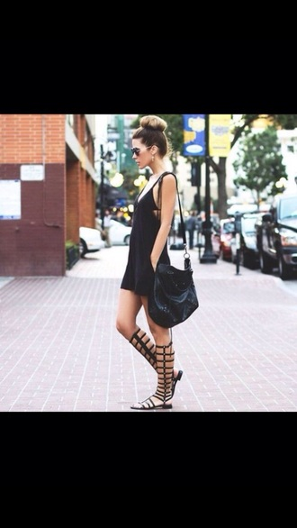 dress black dress black and white dress spaghetti straps. pocket t-shirt style fashion summer dress summer outfits shoes