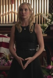 dress,black,belted,the vampire diaries,candice accola,caroline forbes,jersey dress,belted dress