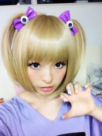 jewels eyeballs eyeball hair bow hair hair accessory hair band blonde hair kyary pamyu pamyu harajuku