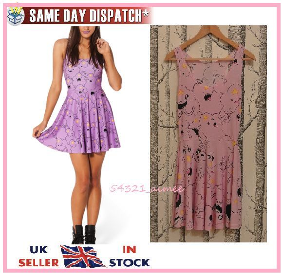 Lumpy Space Princess LSP Adventure Time Skater Dress S 8 10 Milk Galaxy Black | eBay