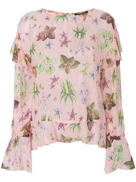 top women floral print silk purple pink