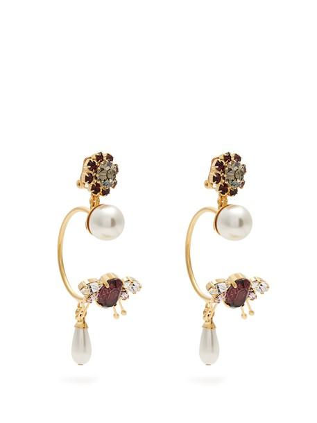 Erdem embellished earrings hoop earrings burgundy jewels