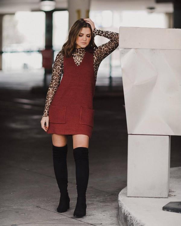 top print leopard print mesh dress mini dress overalls black boots knee high boots suede boots