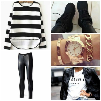 shoes timberlands black stripped stripes leggings leather leather leggings seenfromtaris gold watch gold watch chain braclet jewelry t-shirt blouse